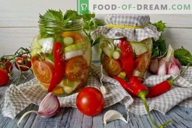 Sałatka z marynowanych warzyw z chili i miętą na zimę
