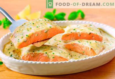 Lõhe kreemjas kastmes - parimad retseptid. Kuidas õigesti ja maitsev küpsetada lõhe koorekastmes.