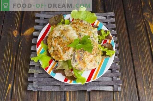 Kotlety z kurczaka z grzybami i cukinią