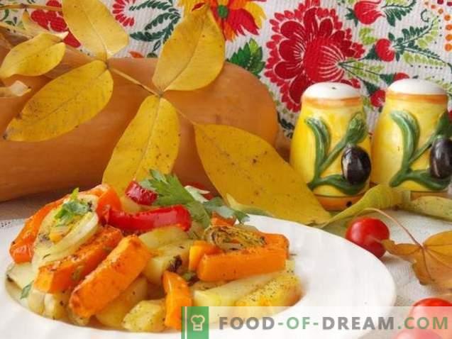 Pieczone ziemniaki z dynią i warzywami