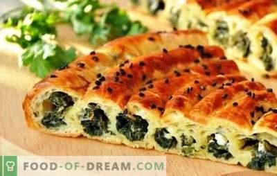 Bezkonkurencyjny przepis na wypieki to ciasto ze szpinakiem i serem. Różne ciasta i nadzienie na placki ze szpinakiem i serem