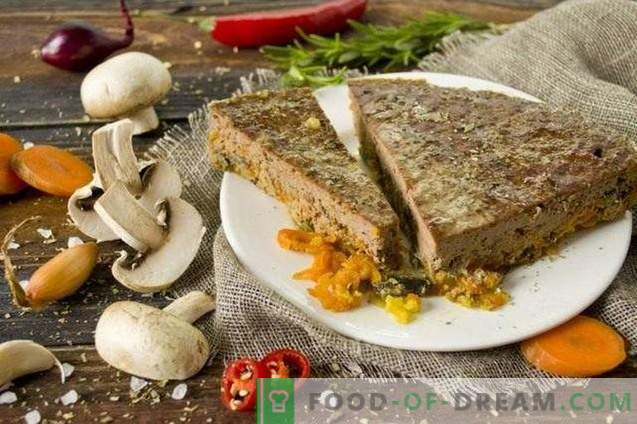 Pasztet wołowy z pieczarkami i warzywami w piekarniku