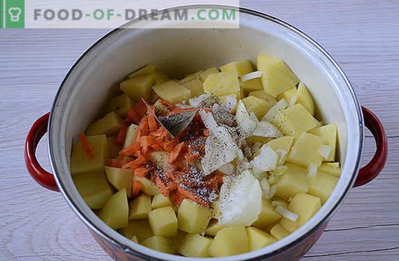 Klasyczny przepis na ziemniaki z konserwy: smak kuchni kraju Sowietów. Jak gotować banalne ziemniaki z pysznym gulaszem: przepis krok po kroku ze zdjęciami