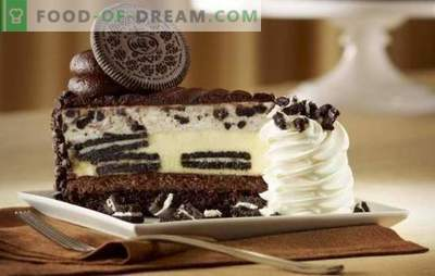 White and black is Oreo cake. In search of refined harmony of taste: recipes of Oreo sponge cake and shortcake (with fruit, chocolate, curd)