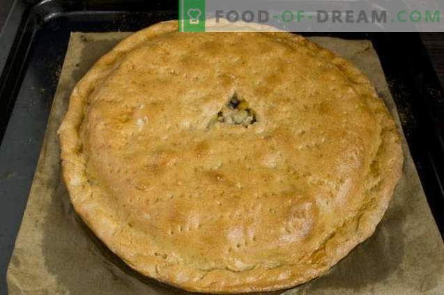 Ciasto z mięsem i grzybami w piekarniku