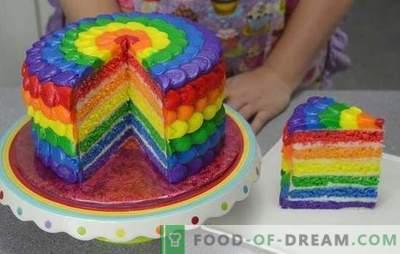 """Jesteśmy zaskoczeni smakiem i kolorem: ciasto """"Rainbow"""" wykonane z ciastek lub galaretki. Przepisy ciasta """"Rainbow"""" z naturalnymi i spożywczymi barwnikami"""