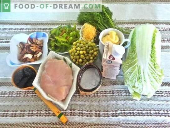 Sałatka z piersią: przepis ze zdjęciami. Opis krok po kroku niesamowitej sałatki z piersią, śliwką, serem i kapustą chińską