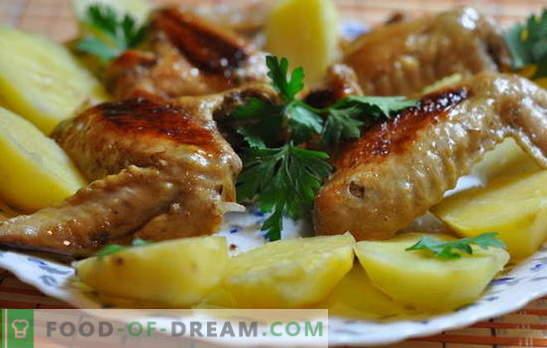 Skrzydełka z kurczaka z ziemniakami w piekarniku - budżet! Przepisy na skrzydełka kurczaka z ziemniakami w piekarniku: po włosku, w piwie itp.