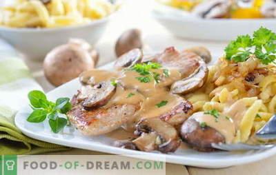 Kiauliena su bulvėmis ir grybais: kepti, kepti, troškinti. Įdomios bulvių su kiauliena ir grybais variantai