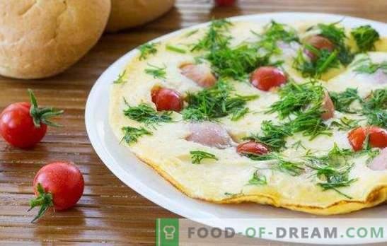 Omlet z kiełbaskami - proste i obfite śniadanie! Gotowanie pysznych omletów z kiełbaskami w piekarniku, kuchence mikrofalowej, multicooker i patelni