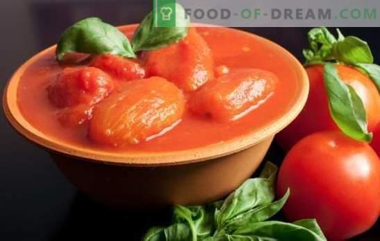 Pomidory we własnym soku na zimę: jak polane i stają się niezrównane! Przepisy z pomidorów we własnym soku na zimę