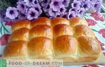 Ciasto drożdżowe - zwiewne bułeczki. Babeczki powietrzne z rodzynkami, wiśniami, wanilią, cynamonem, gotowanym skondensowanym mlekiem lub czosnkiem