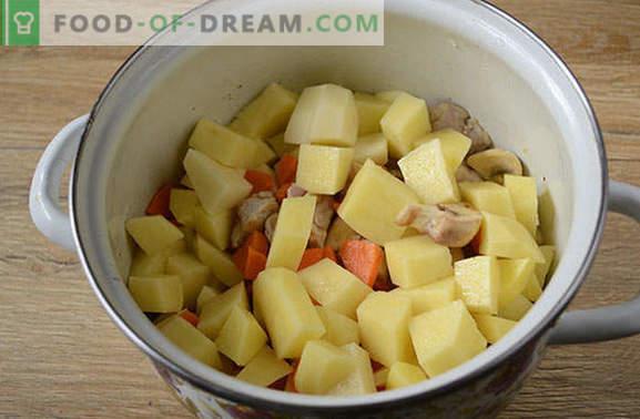 Pieczeń z wieprzowiną i grzybami w rondlu - mężczyzna powie tak! Prosty, krok po kroku przepis na gotowanie pieczeni w rondlu