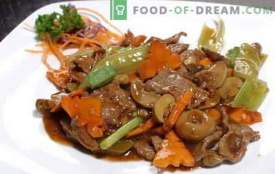 Vlees in sojasaus: varkensvlees en rundvlees. Top 10 recepten voor het bereiden van gemarineerde sojasaus met vlees