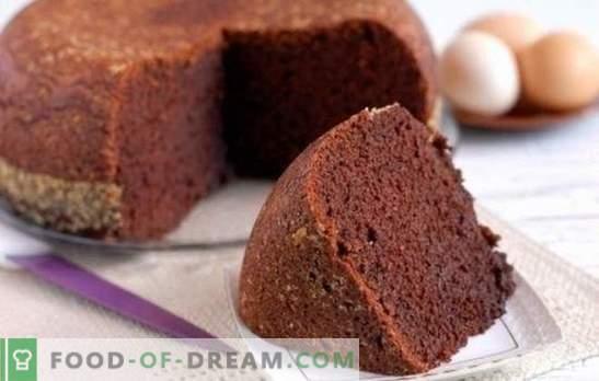 Biszkopt kakaowy - czekoladowa bajka! Domowe przepisy na ciastka kakaowe: klasyczna, przegotowana woda, kefir, kwaśna śmietana z wiśnią