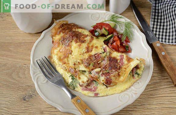 Omelette mit Käse und Wurst: einfacher geht es nicht! Schritt für Schritt Autorenrezept für ein Omelett mit Käse und Wurst - was ist das Geheimnis des Pomp eines Omeletts?