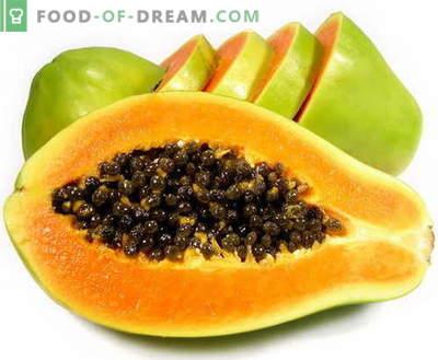 Papaja - opis, przydatne właściwości, wykorzystanie w gotowaniu. Przepisy z papaja.