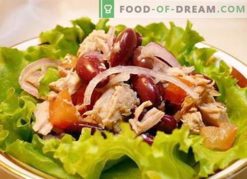 Salat kana ja oadega - parimad retseptid. Kuidas õigesti ja maitsvalt valmistada kanaliha ja oad salatit.