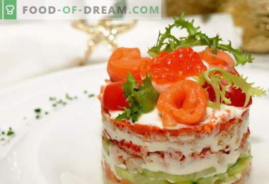 Салата с сьомга - правилните рецепти. Бързо и вкусно приготвяне на салата с сьомга.