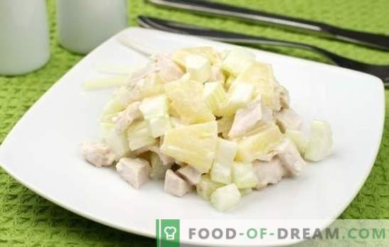 Sałatka z ananasami i piersią z kurczaka to znajoma egzotyczność. Przepisy na sałatkę z ananasem i piersią z kurczaka