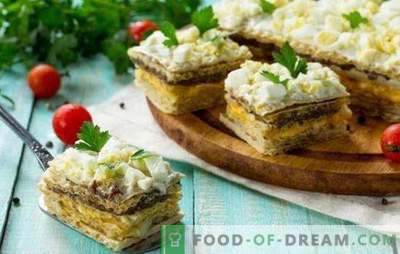 Ciastka waflowe ze śledziem - pyszne! Proste ciastka waflowe ze śledziem i grzybami, wątroba z dorsza i warzywa