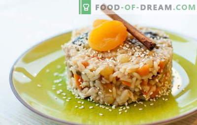 Pilaf con pasas es un plato saludable con un aroma maravilloso! Una selección de diferentes recetas de pilaf con pasas: sencillas y dulces