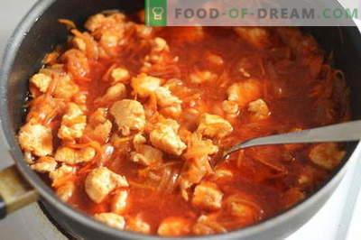 Gulasz z kurczaka - najlepsze przepisy. Jak właściwie i smacznie gotować gulasz z kurczaka.