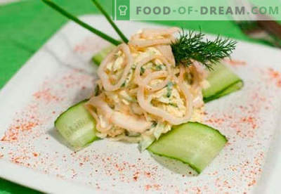 Kalmāru olu salāti - apstiprinātas receptes. Kā pagatavot kalmāru salātus ar olu.