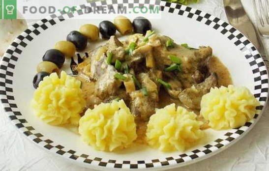 Stroganoff wołowy z wątroby - najbardziej delikatny produkt uboczny w sosie. Przepisy na wołowinę stroganoffs: wołowina, cielę, wieprzowina