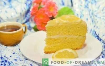 Bolo de limão: biscoito, folhado, suflê, areia, geléia, merengue, bolo de sorvete. Receitas de direitos autorais bolos de limão e esmalte