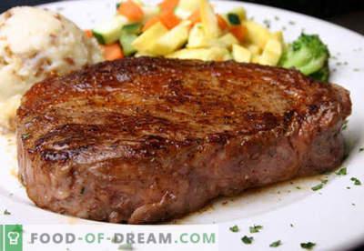 Бифтек - најдобрите рецепти. Како да правилно и вкусно готви стек говедско месо, сецкани и мелено.