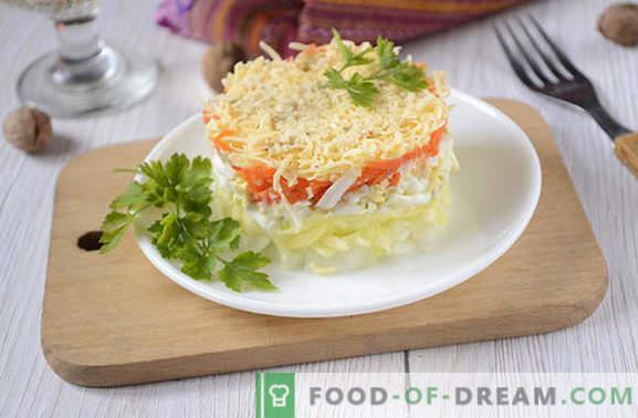 Francuska sałatka z marchewką: warstwowa, piękna i smaczna. Autorska fotorelacja sałatki z krok po kroku w języku francuskim z marchewką, jajkami, jabłkami i orzechami