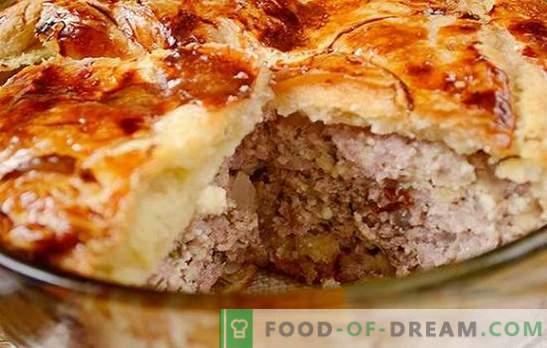 Ciasto mięsne z gotowego ciasta francuskiego: autorski przepis na zdjęcia. Jak szybko upiec ciasto mięsne z twarogowym ciastem francuskim z mięsem mielonym