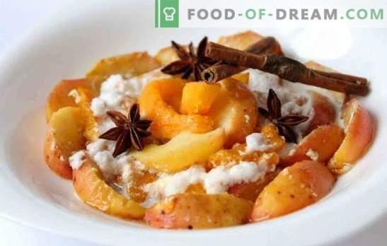 Kepta moliūgų su obuoliais - patinka! Kepta moliūgų receptai su obuoliais ir apelsinais, džiovinti vaisiai, ryžiai ir meringue