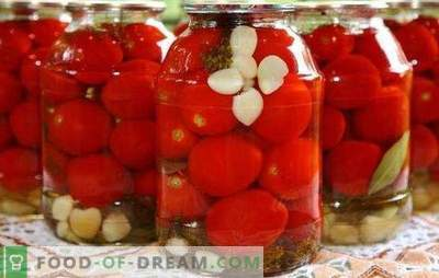 Pomidory z czosnkiem na zimę: piękna i pikantna przekąska. Różne przepisy na zbieranie zielonych i czerwonych pomidorów z czosnkiem na zimę