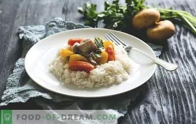 Fricassee z indyka - soczyste mięso. Gotowanie potrawki z indyka z grzybami i warzywami, ze śmietaną, śmietaną i białym winem.
