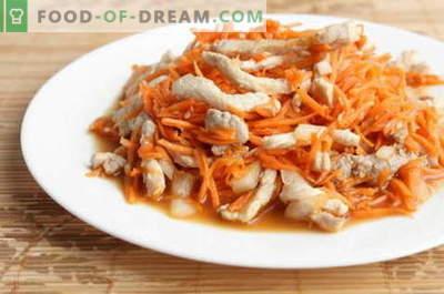 Koreańska sałatka z kurczakiem - najlepsze przepisy. Jak właściwie i smacznie przygotować sałatkę z kurczakiem i koreańską marchewką.