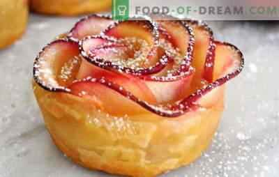 Róże francuskie z jabłkami - świąteczna dekoracja stołu. Niespodzianka gości puff róże z jabłkami