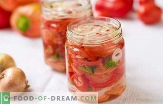 Sałatka ze słodkich pomidorów na zimę: najlepsze przepisy na oryginalną przekąskę. Sekrety pysznej sałatki ze słodkich pomidorów na zimę