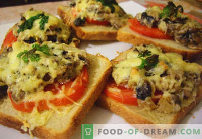 Sándwiches calientes con salchichas, queso, huevo, tomates: las mejores recetas. Cómo cocinar sándwiches calientes en el horno, en la sartén y en el microondas.