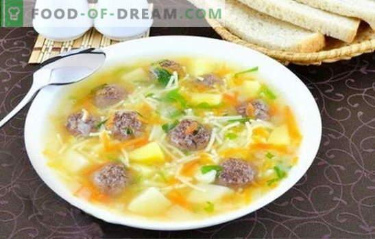 Zupa z klopsikami i makaronem - pyszny lunch jest prosty! Najlepsze przepisy na zupy z klopsikami i makaronem