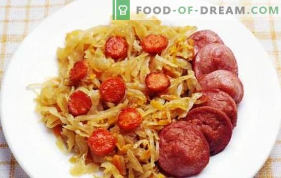 Braised kål med korv - en maträtt för varje dag. Recept för braiserad kål med korv i en kittel, ugn och en långsam spis