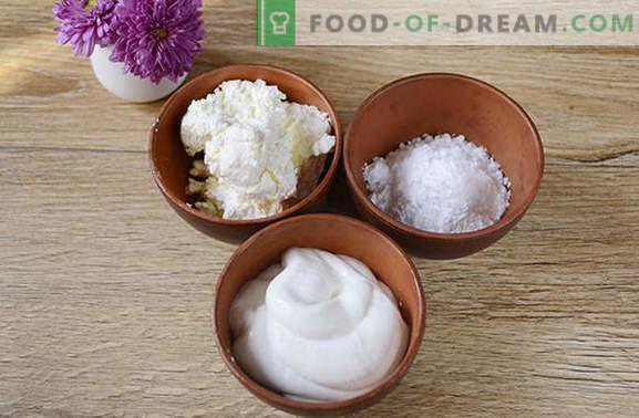 Creme azedo de coalhada: um prato independente e decoração de cozimento. Passo a passo creme de receita de foto do autor de creme de leite e queijo cottage