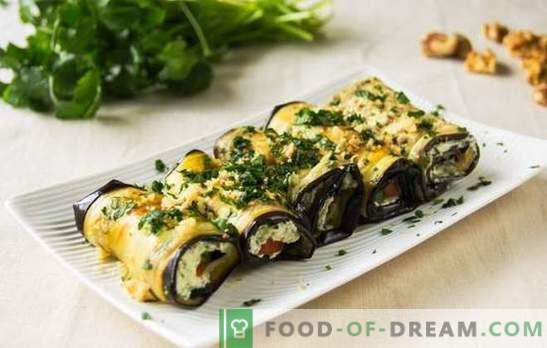 Gotowanie bakłażanów w rolkach z serem - uniwersalna przekąska. Roladki z bakłażana z serem: proste, szybkie, apetyczne