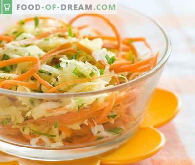 Свежи морков и салата од зелка се петте најдобри рецепти. Готвење салати од свеж морков и зелка.