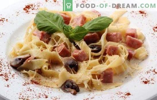 Fettuccine z szynką - makaron w języku włoskim! Różne sposoby gotowania fettuccine z szynką i serem, pieczarkami, pomidorami