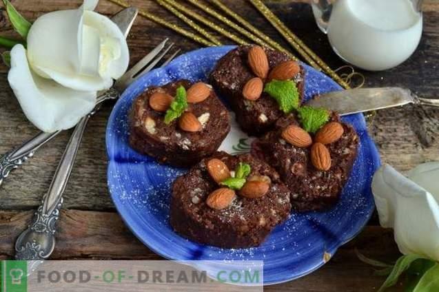 Kiełbasa czekoladowa z migdałami i bananem
