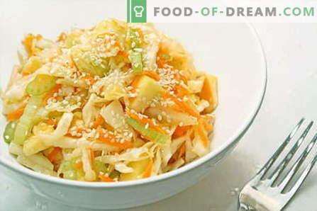 Sałatka z kapusty - najlepsze przepisy. Gotowanie sałatek ze świeżej, kalafiorowej, morskiej i chińskiej kapusty.