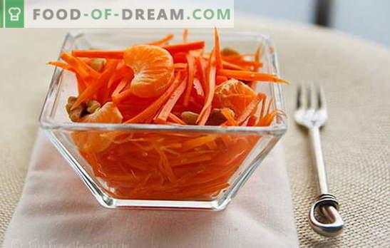 Sałatki marchewkowe - proste przepisy na słoneczne przekąski! Proste sałatki z marchwi z mięsem, jabłkami, orzechami, warzywami