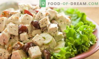 Sałatka z kurczakiem i winogronami - najlepsze przepisy. Jak właściwie i smacznie przygotować sałatkę z kurczaka z winogronami.